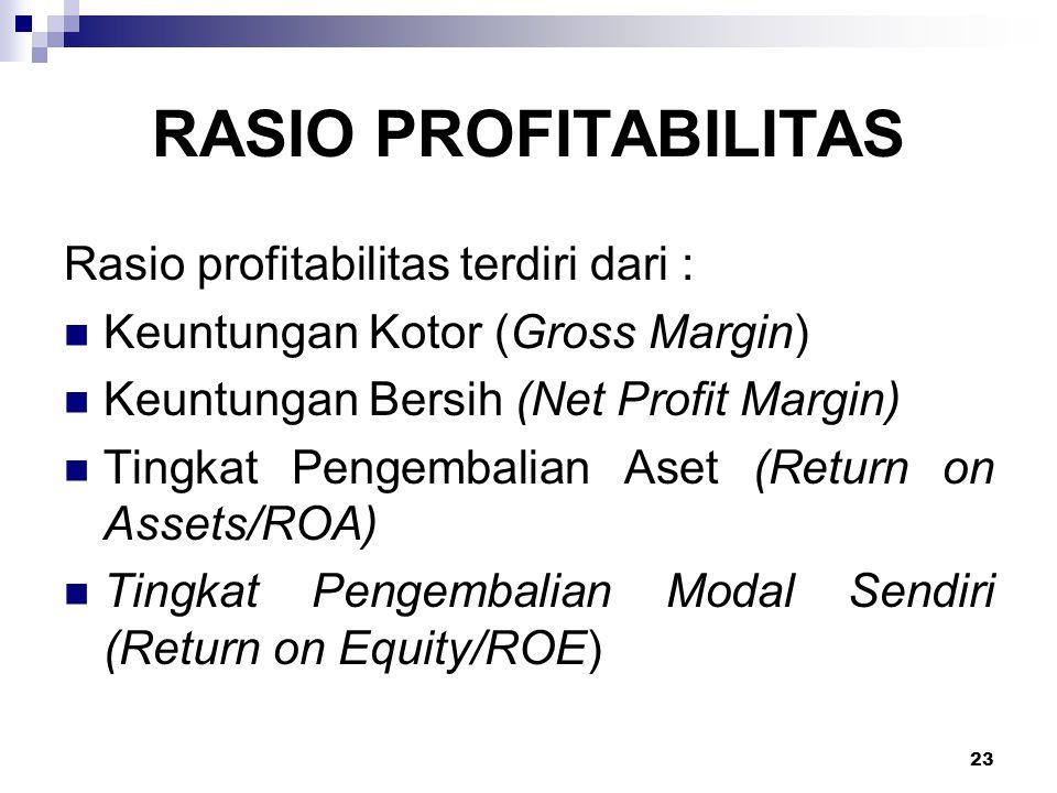 23 RASIO PROFITABILITAS Rasio profitabilitas terdiri dari : Keuntungan Kotor (Gross Margin) Keuntungan Bersih (Net Profit Margin) Tingkat Pengembalian