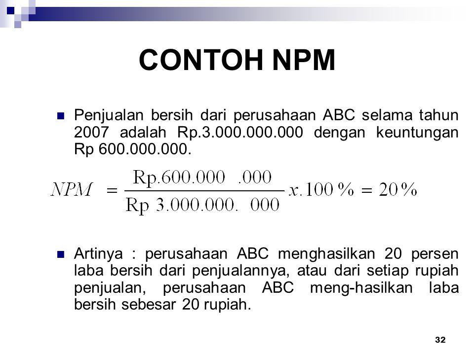 32 CONTOH NPM Penjualan bersih dari perusahaan ABC selama tahun 2007 adalah Rp.3.000.000.000 dengan keuntungan Rp 600.000.000. Artinya : perusahaan AB
