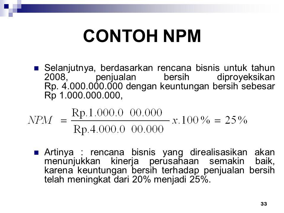 33 CONTOH NPM Selanjutnya, berdasarkan rencana bisnis untuk tahun 2008, penjualan bersih diproyeksikan Rp. 4.000.000.000 dengan keuntungan bersih sebe