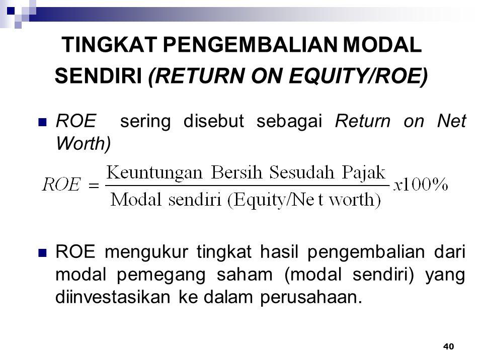 40 TINGKAT PENGEMBALIAN MODAL SENDIRI (RETURN ON EQUITY/ROE) ROE sering disebut sebagai Return on Net Worth) ROE mengukur tingkat hasil pengembalian d