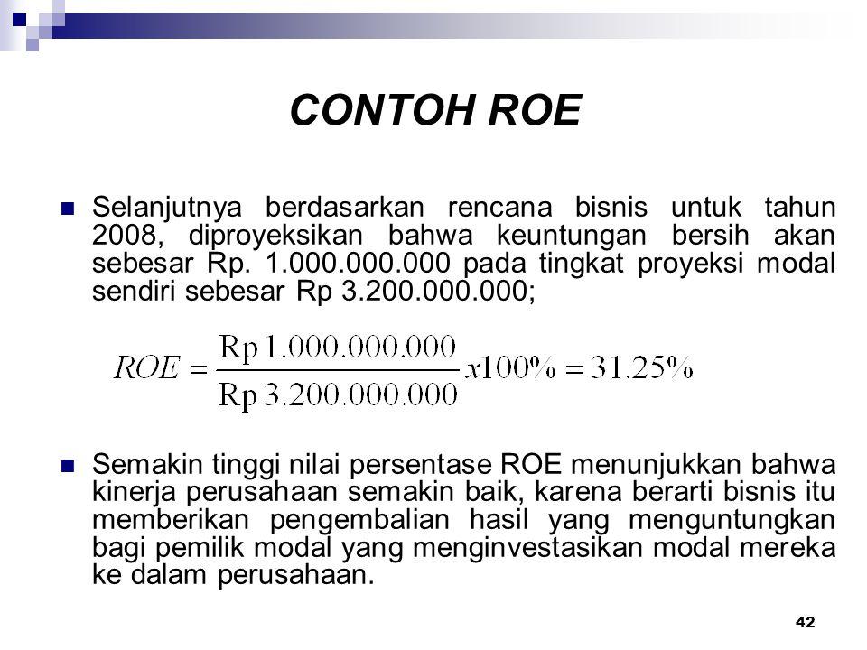 42 CONTOH ROE Selanjutnya berdasarkan rencana bisnis untuk tahun 2008, diproyeksikan bahwa keuntungan bersih akan sebesar Rp. 1.000.000.000 pada tingk