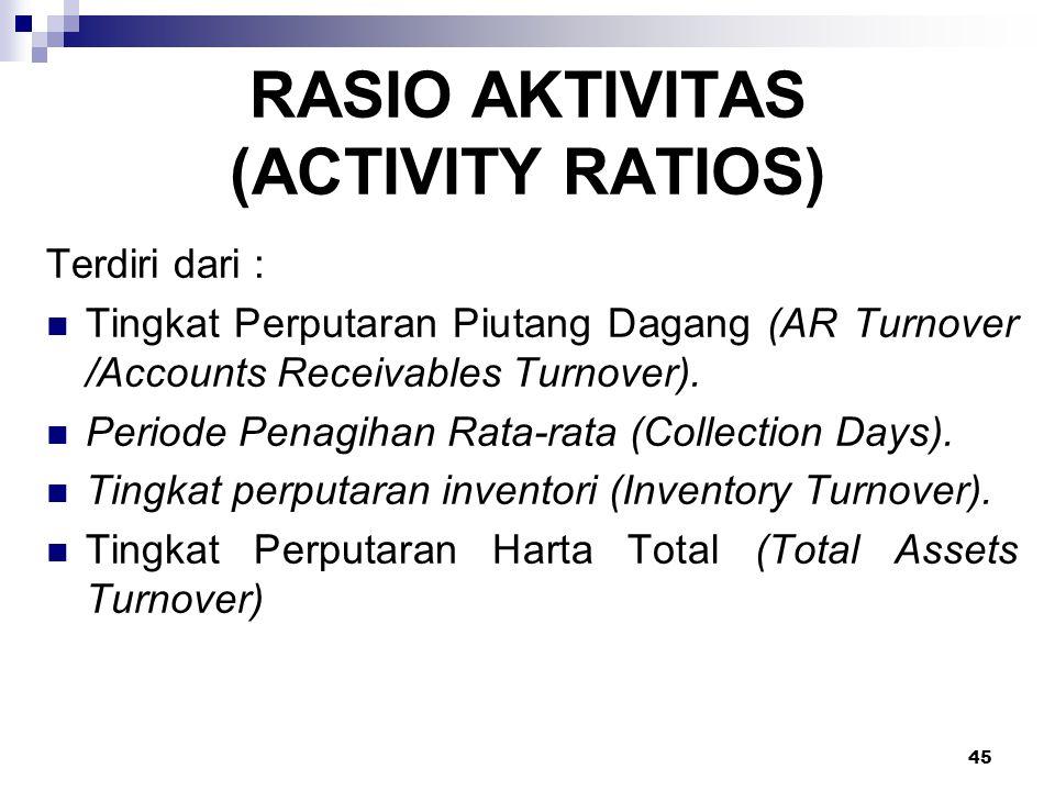 45 RASIO AKTIVITAS (ACTIVITY RATIOS) Terdiri dari : Tingkat Perputaran Piutang Dagang (AR Turnover /Accounts Receivables Turnover). Periode Penagihan