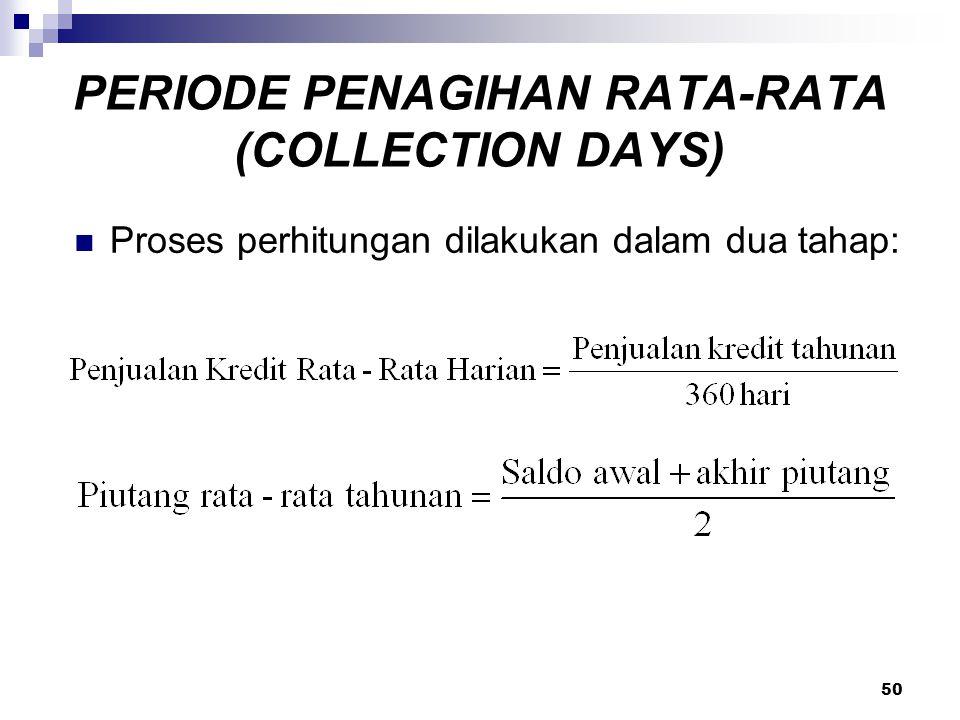 50 PERIODE PENAGIHAN RATA-RATA (COLLECTION DAYS) Proses perhitungan dilakukan dalam dua tahap: