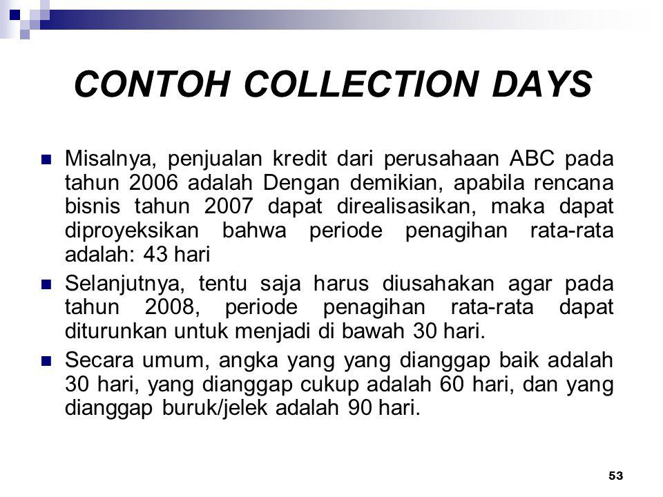 53 CONTOH COLLECTION DAYS Misalnya, penjualan kredit dari perusahaan ABC pada tahun 2006 adalah Dengan demikian, apabila rencana bisnis tahun 2007 dap