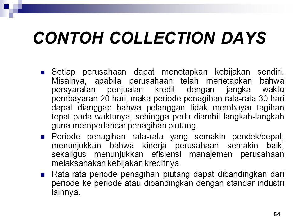 54 CONTOH COLLECTION DAYS Setiap perusahaan dapat menetapkan kebijakan sendiri. Misalnya, apabila perusahaan telah menetapkan bahwa persyaratan penjua