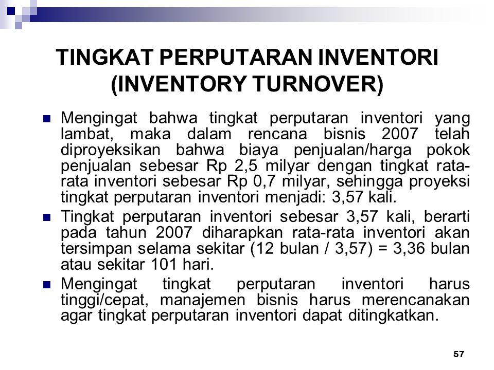 57 Mengingat bahwa tingkat perputaran inventori yang lambat, maka dalam rencana bisnis 2007 telah diproyeksikan bahwa biaya penjualan/harga pokok penj