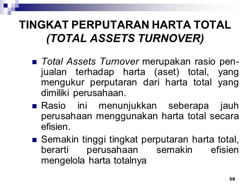 58 TINGKAT PERPUTARAN HARTA TOTAL (TOTAL ASSETS TURNOVER) Total Assets Turnover merupakan rasio pen jualan terhadap harta (aset) total, yang mengukur