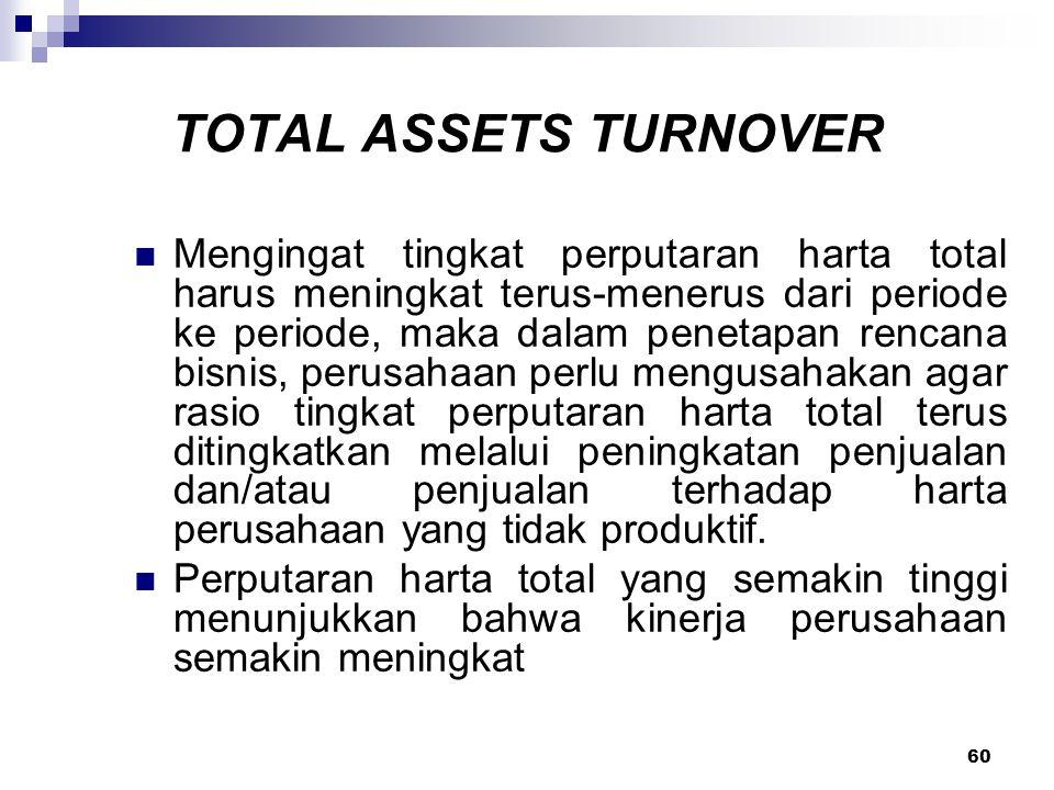 60 TOTAL ASSETS TURNOVER Mengingat tingkat perputaran harta total harus meningkat terus-menerus dari periode ke periode, maka dalam penetapan rencana
