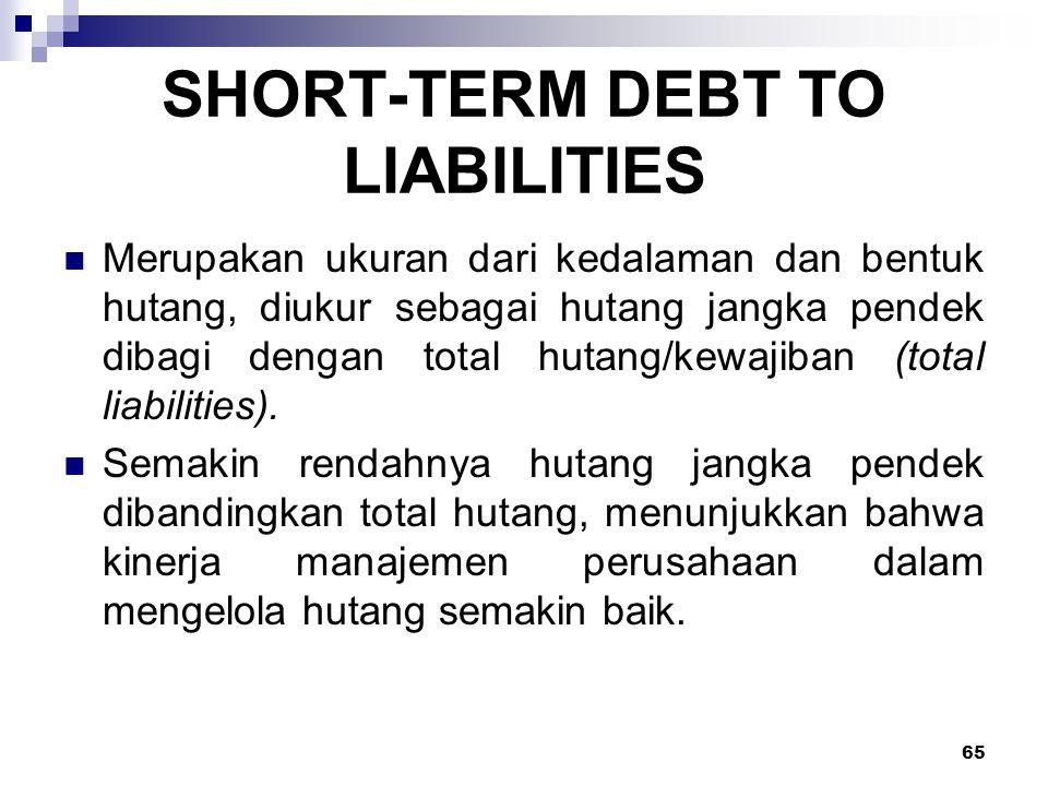 65 SHORT-TERM DEBT TO LIABILITIES Merupakan ukuran dari kedalaman dan bentuk hutang, diukur sebagai hutang jangka pendek dibagi dengan total hutang/ke