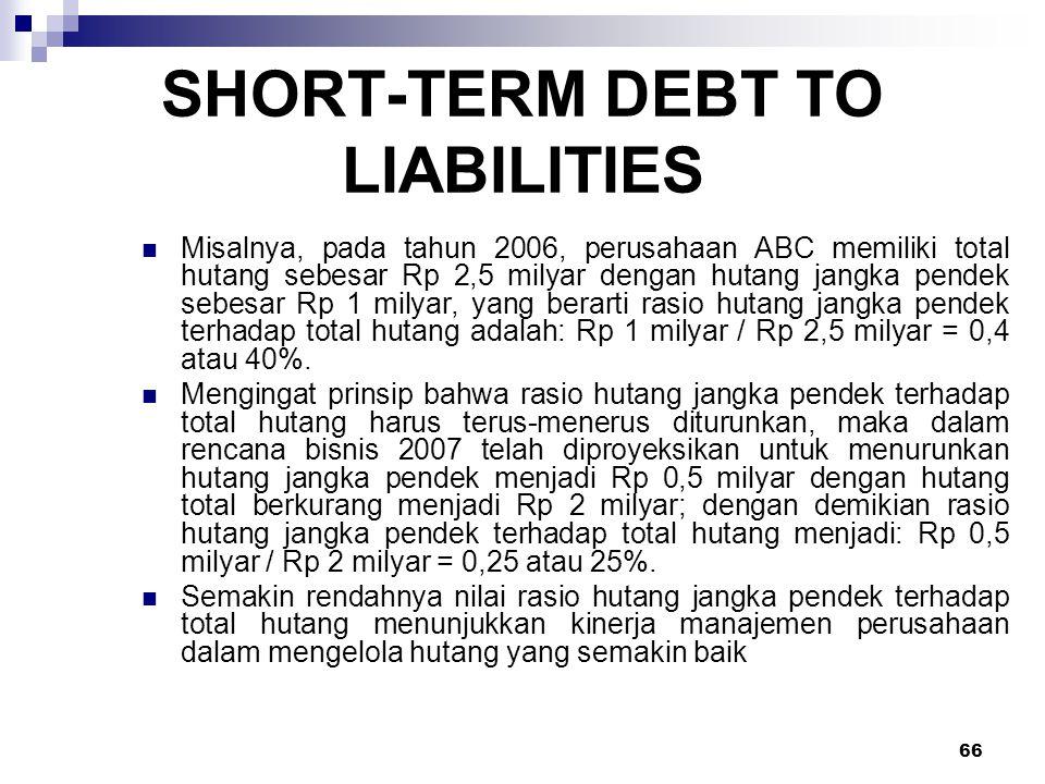 66 SHORT-TERM DEBT TO LIABILITIES Misalnya, pada tahun 2006, perusahaan ABC memiliki total hutang sebesar Rp 2,5 milyar dengan hutang jangka pendek se
