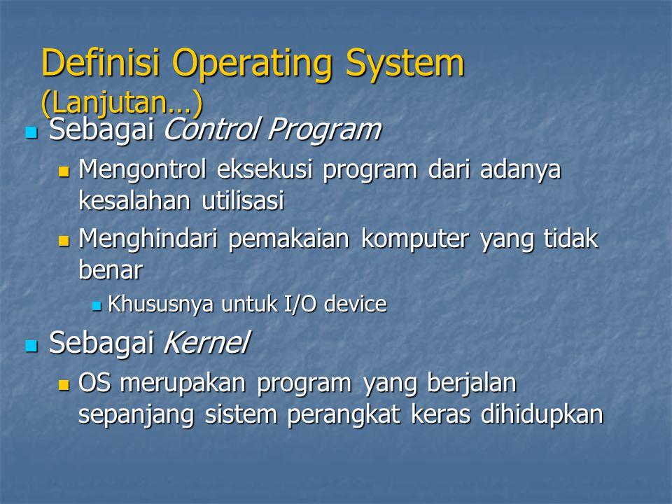 Definisi Operating System (Lanjutan…) Sebagai Control Program Sebagai Control Program Mengontrol eksekusi program dari adanya kesalahan utilisasi Meng