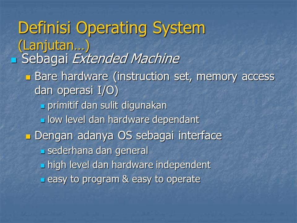 Definisi Operating System (Lanjutan…) Sebagai Extended Machine Sebagai Extended Machine Bare hardware (instruction set, memory access dan operasi I/O)