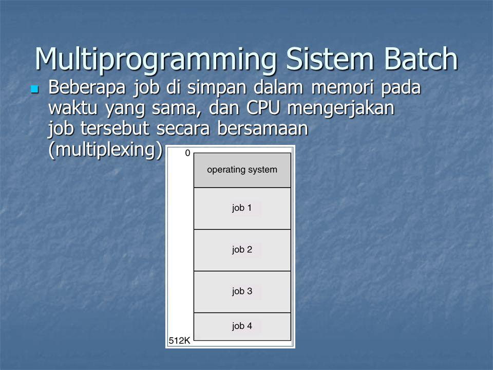 Multiprogramming Sistem Batch Beberapa job di simpan dalam memori pada waktu yang sama, dan CPU mengerjakan job tersebut secara bersamaan (multiplexing) Beberapa job di simpan dalam memori pada waktu yang sama, dan CPU mengerjakan job tersebut secara bersamaan (multiplexing)