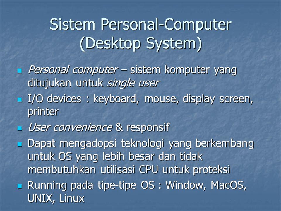 Sistem Personal-Computer (Desktop System) Personal computer – sistem komputer yang ditujukan untuk single user Personal computer – sistem komputer yan