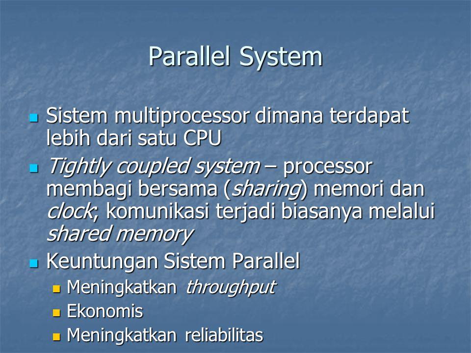 Parallel System Sistem multiprocessor dimana terdapat lebih dari satu CPU Sistem multiprocessor dimana terdapat lebih dari satu CPU Tightly coupled sy