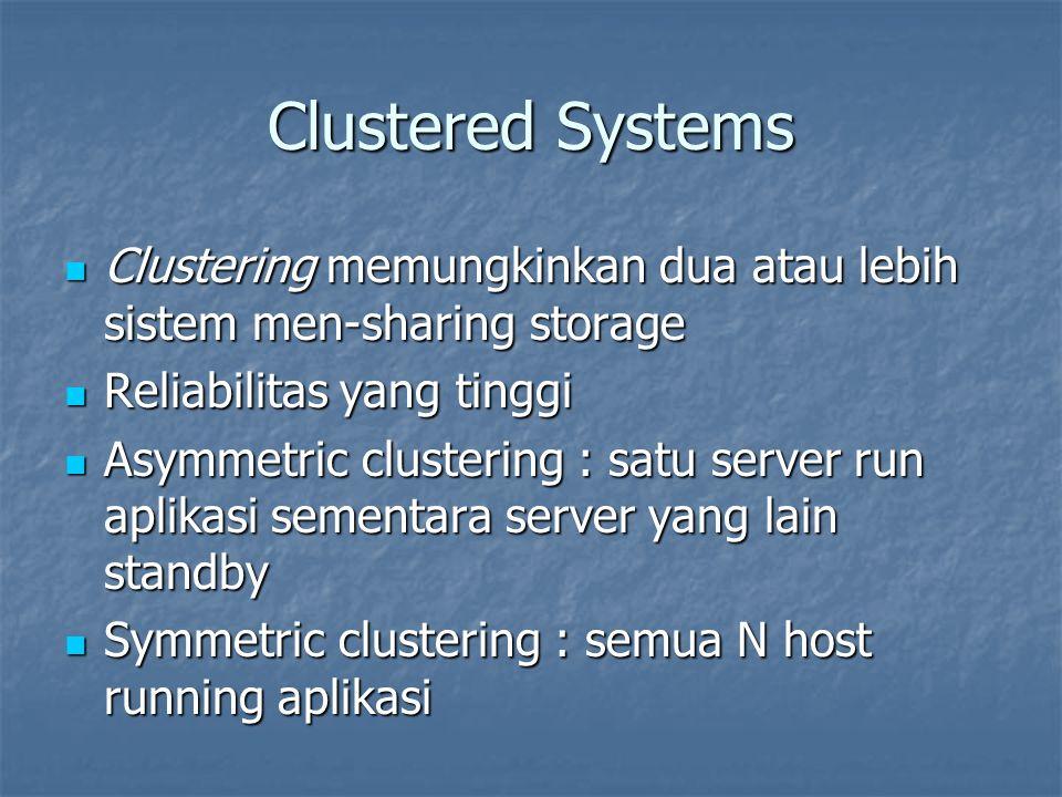 Clustered Systems Clustering memungkinkan dua atau lebih sistem men-sharing storage Clustering memungkinkan dua atau lebih sistem men-sharing storage