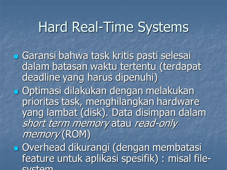 Hard Real-Time Systems Garansi bahwa task kritis pasti selesai dalam batasan waktu tertentu (terdapat deadline yang harus dipenuhi) Garansi bahwa task kritis pasti selesai dalam batasan waktu tertentu (terdapat deadline yang harus dipenuhi) Optimasi dilakukan dengan melakukan prioritas task, menghilangkan hardware yang lambat (disk).