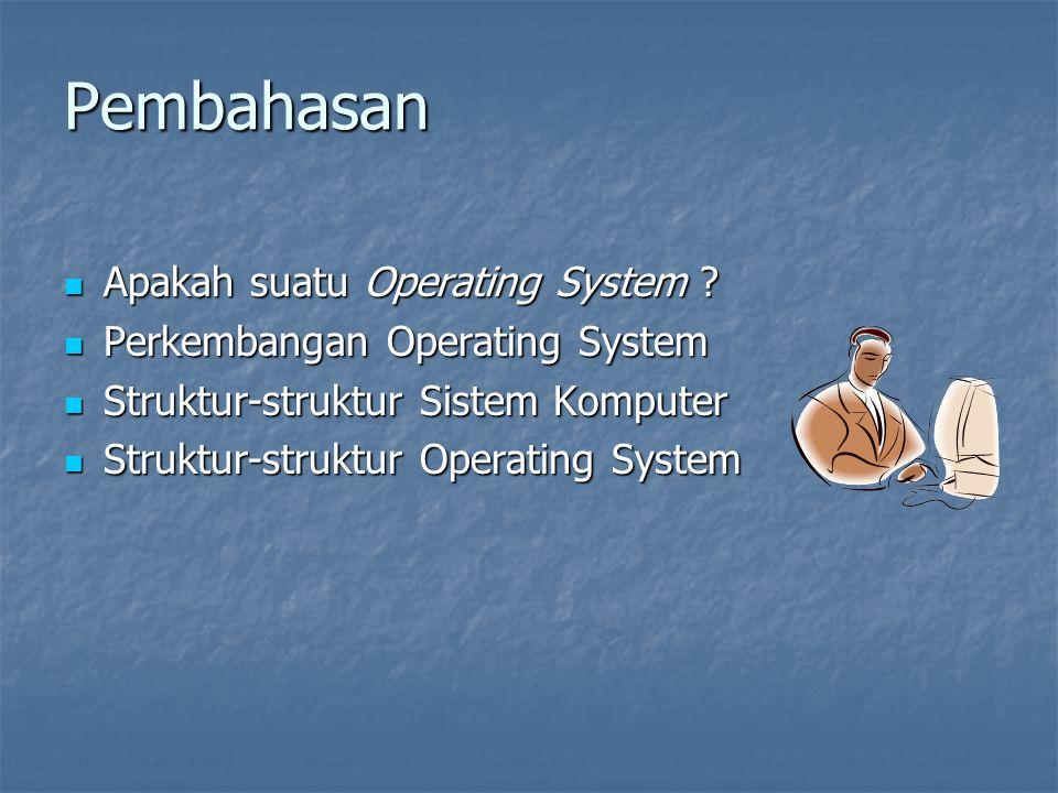Pembahasan Apakah suatu Operating System ? Apakah suatu Operating System ? Perkembangan Operating System Perkembangan Operating System Struktur-strukt