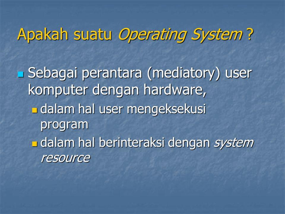 Apakah suatu Operating System ? Sebagai perantara (mediatory) user komputer dengan hardware, Sebagai perantara (mediatory) user komputer dengan hardwa