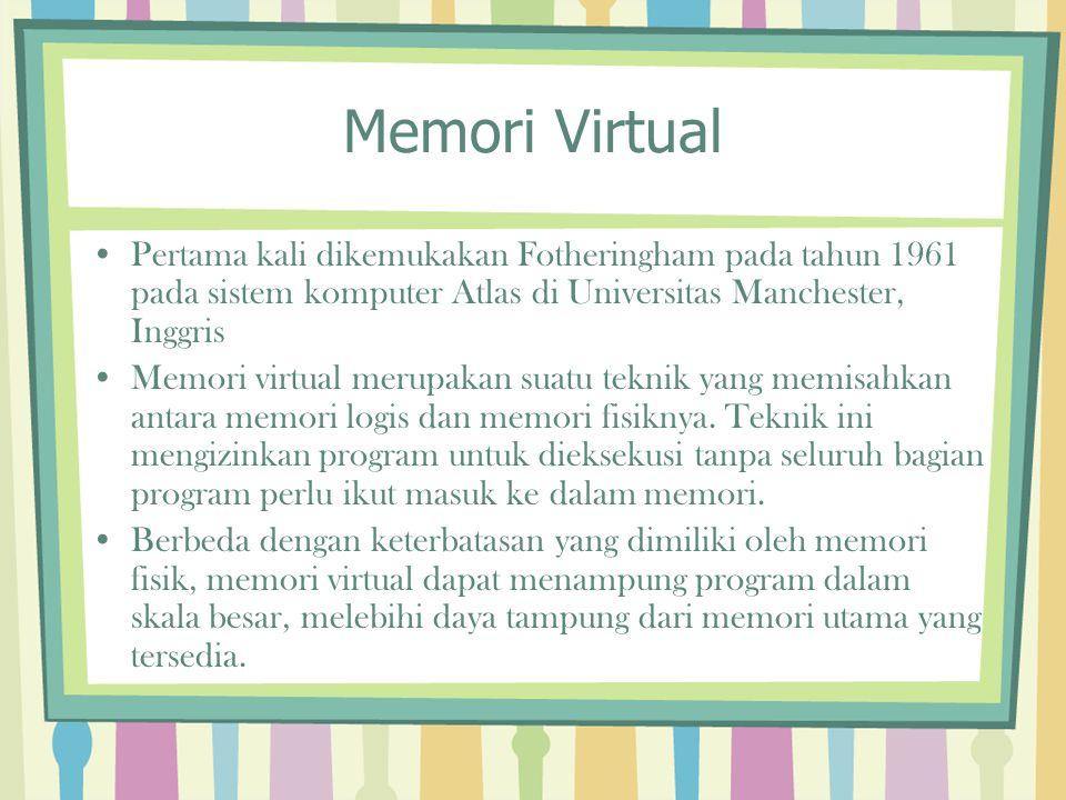 Memori Virtual Pertama kali dikemukakan Fotheringham pada tahun 1961 pada sistem komputer Atlas di Universitas Manchester, Inggris Memori virtual meru