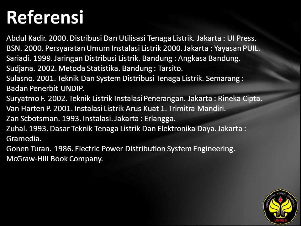 Referensi Abdul Kadir. 2000. Distribusi Dan Utilisasi Tenaga Listrik. Jakarta : UI Press. BSN. 2000. Persyaratan Umum Instalasi Listrik 2000. Jakarta