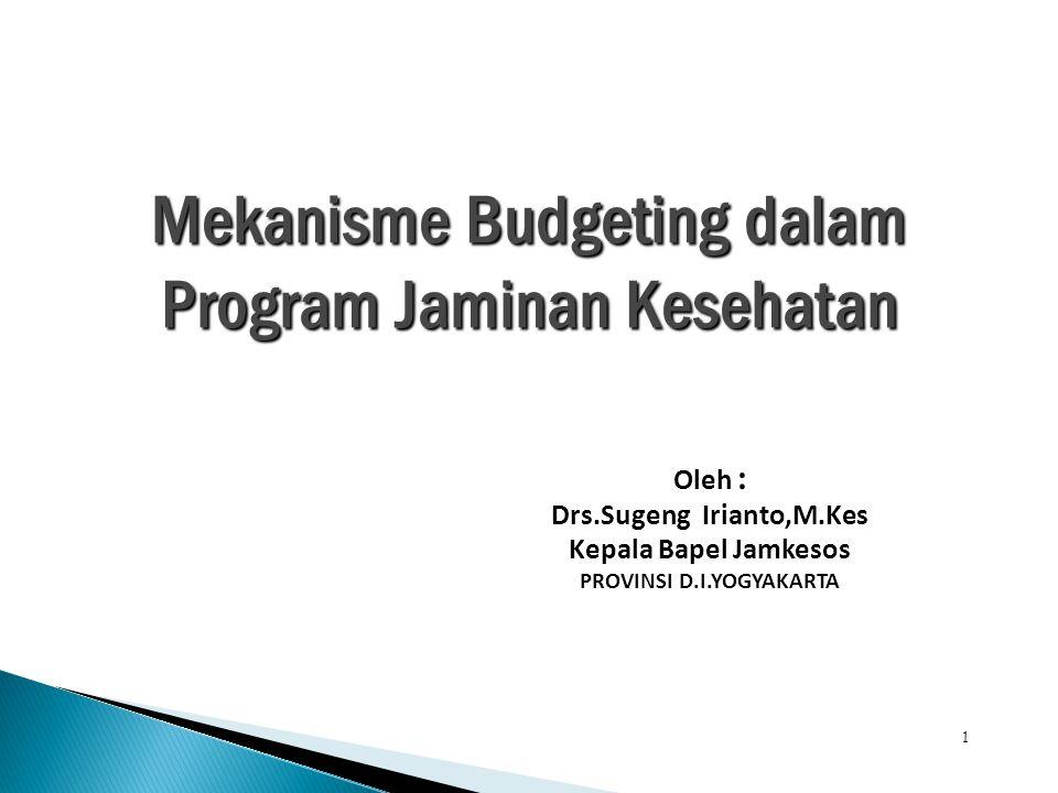 1 Mekanisme Budgeting dalam Program Jaminan Kesehatan Oleh : Drs.Sugeng Irianto,M.Kes Kepala Bapel Jamkesos PROVINSI D.I.YOGYAKARTA