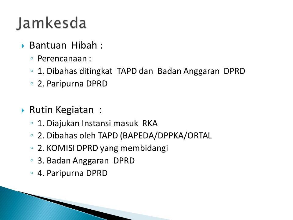  Bantuan Hibah : ◦ Perencanaan : ◦ 1. Dibahas ditingkat TAPD dan Badan Anggaran DPRD ◦ 2. Paripurna DPRD  Rutin Kegiatan : ◦ 1. Diajukan Instansi ma