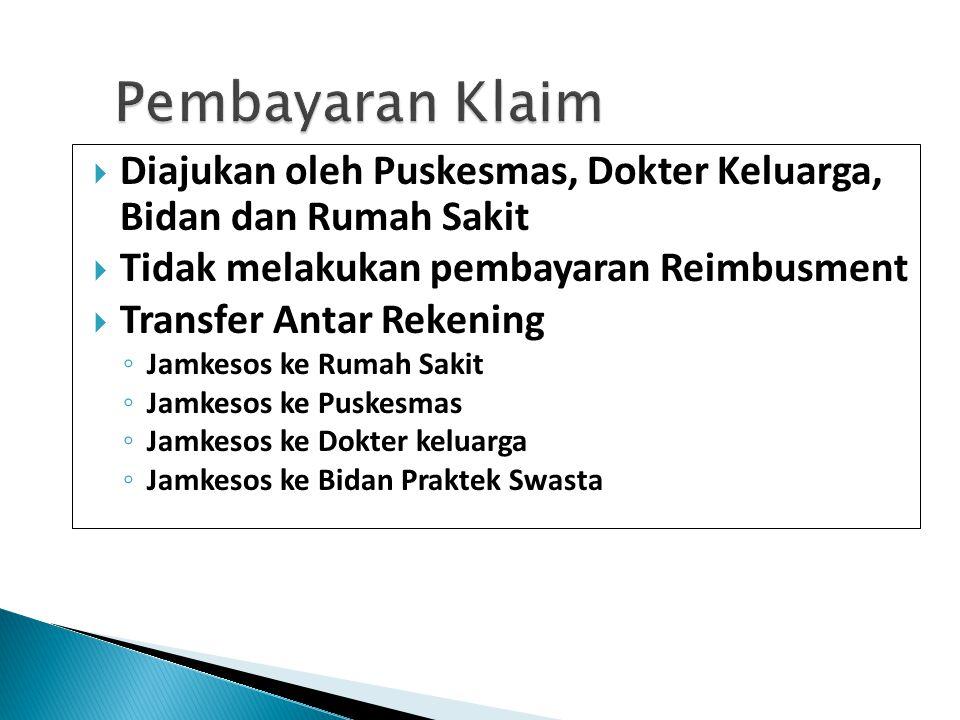 Pembayaran Klaim  Diajukan oleh Puskesmas, Dokter Keluarga, Bidan dan Rumah Sakit  Tidak melakukan pembayaran Reimbusment  Transfer Antar Rekening