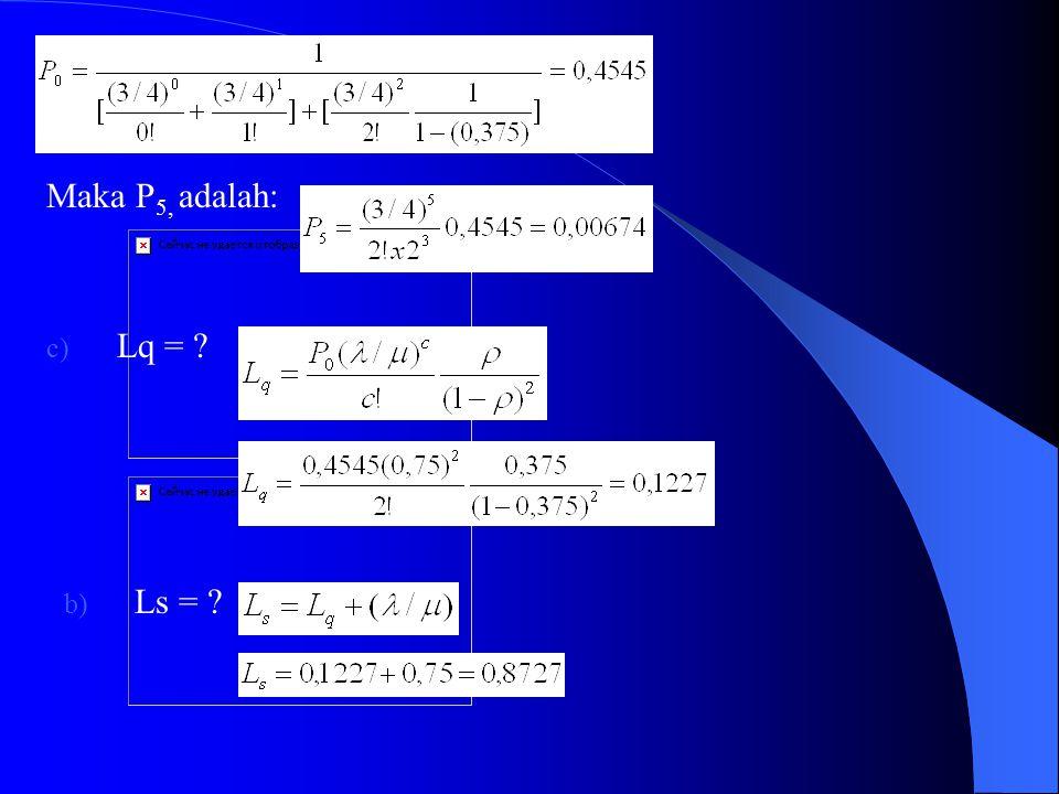 Penyelesaian Modelnya (M/M/2) (FCFS/~/~) Diketahui: λ = 30 orang/ jam = 30 orang/ 60 menit = ½ orang/ menit 1/µ = 90 detik/ orang = 90/60 menit/ orang = 3/2 menit/ orang, maka µ = 2/3 orang/ menit Sehingga tingkat kepadatan pelayanan atau utilisasi adalah: ρ = λ : ( c x µ) = ½ : (2 x 2/3) = 0,375 Jawaban: a) n=5, maka P 5 =.