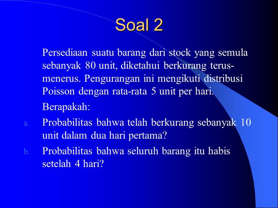 Soal 2 Persediaan suatu barang dari stock yang semula sebanyak 80 unit, diketahui berkurang terus- menerus.