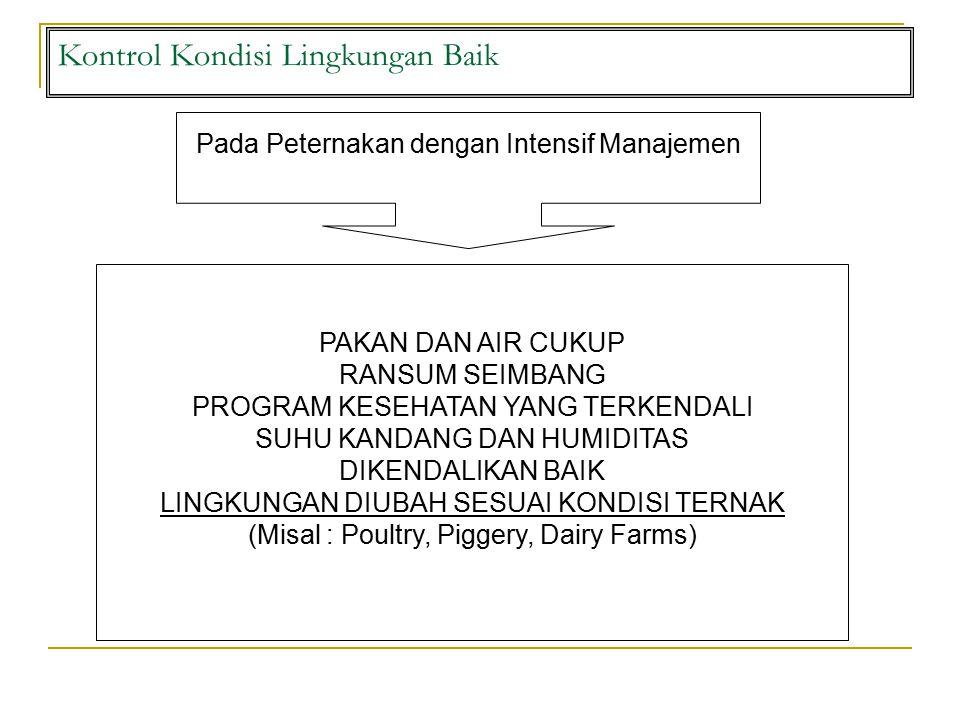 Kontrol Kondisi Lingkungan Baik Pada Peternakan dengan Intensif Manajemen PAKAN DAN AIR CUKUP RANSUM SEIMBANG PROGRAM KESEHATAN YANG TERKENDALI SUHU KANDANG DAN HUMIDITAS DIKENDALIKAN BAIK LINGKUNGAN DIUBAH SESUAI KONDISI TERNAK (Misal : Poultry, Piggery, Dairy Farms)