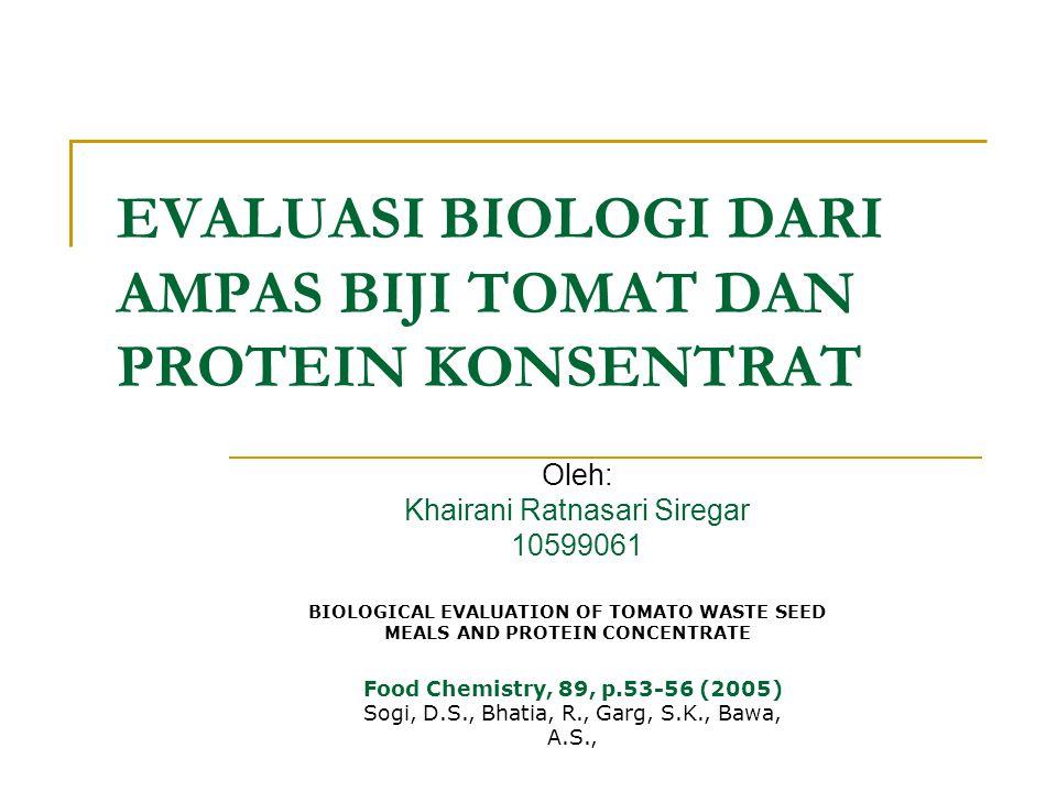 EVALUASI BIOLOGI DARI AMPAS BIJI TOMAT DAN PROTEIN KONSENTRAT Oleh: Khairani Ratnasari Siregar 10599061 BIOLOGICAL EVALUATION OF TOMATO WASTE SEED MEALS AND PROTEIN CONCENTRATE Food Chemistry, 89, p.53-56 (2005) Sogi, D.S., Bhatia, R., Garg, S.K., Bawa, A.S.,