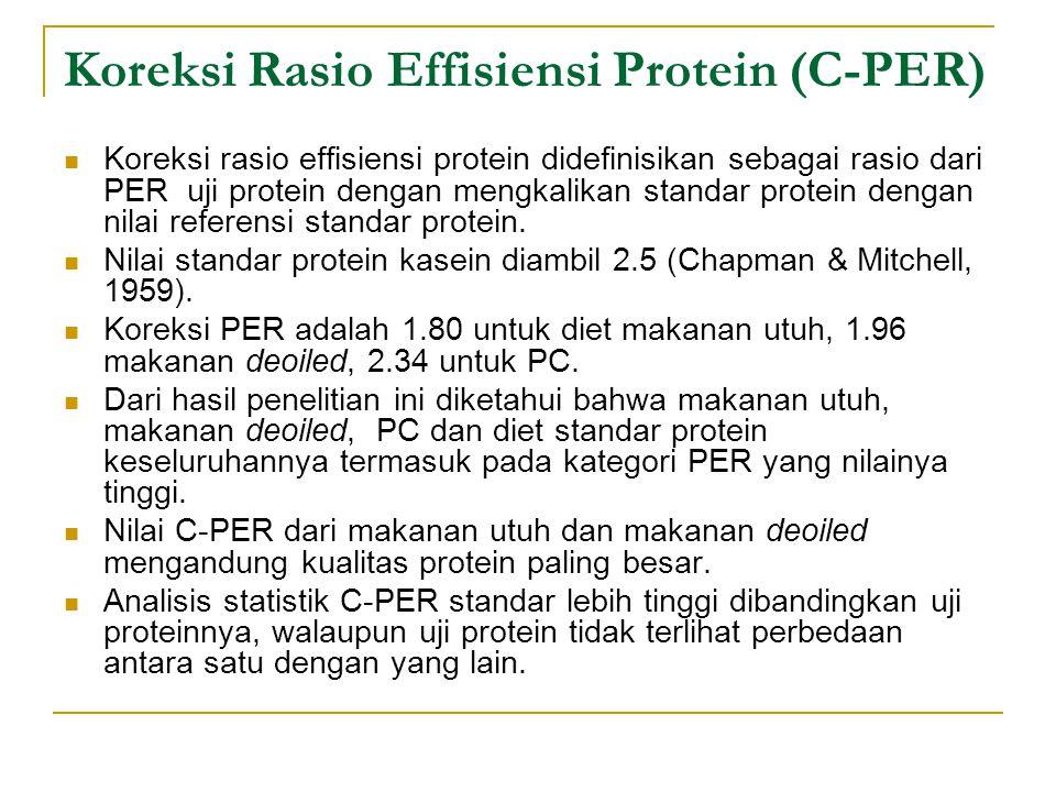 Koreksi Rasio Effisiensi Protein (C-PER) Koreksi rasio effisiensi protein didefinisikan sebagai rasio dari PER uji protein dengan mengkalikan standar protein dengan nilai referensi standar protein.