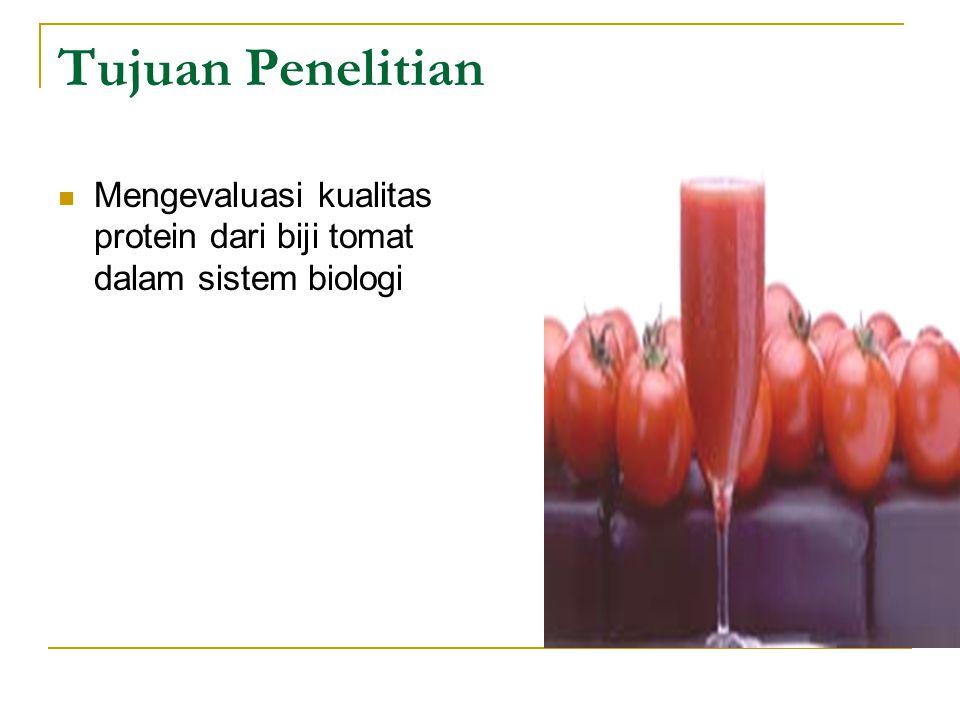 Tujuan Penelitian Mengevaluasi kualitas protein dari biji tomat dalam sistem biologi