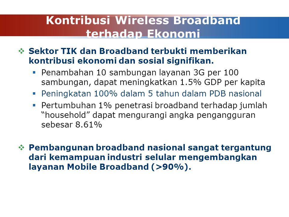Kontribusi Wireless Broadband terhadap Ekonomi  Sektor TIK dan Broadband terbukti memberikan kontribusi ekonomi dan sosial signifikan.  Penambahan 1
