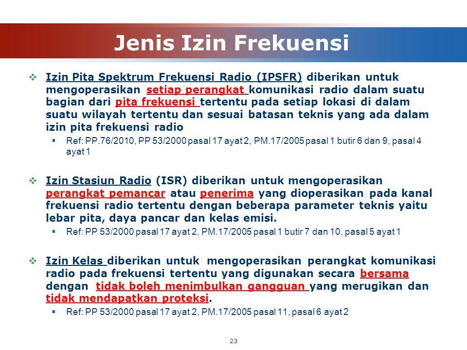 Jenis Izin Frekuensi  Izin Pita Spektrum Frekuensi Radio (IPSFR) diberikan untuk mengoperasikan setiap perangkat komunikasi radio dalam suatu bagian
