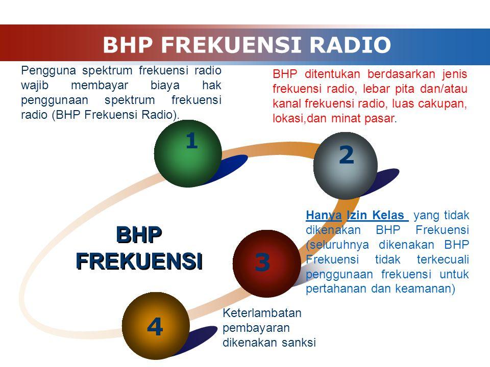 BHP FREKUENSI RADIO 3 4 BHP FREKUENSI Pengguna spektrum frekuensi radio wajib membayar biaya hak penggunaan spektrum frekuensi radio (BHP Frekuensi Ra