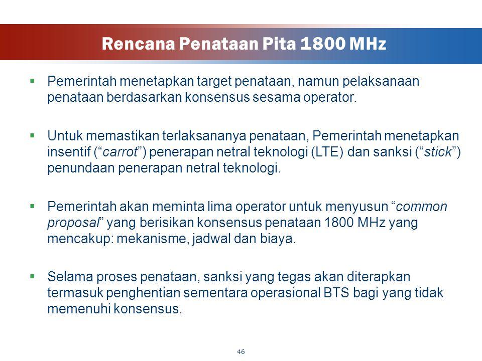 Rencana Penataan Pita 1800 MHz  Pemerintah menetapkan target penataan, namun pelaksanaan penataan berdasarkan konsensus sesama operator.  Untuk mema