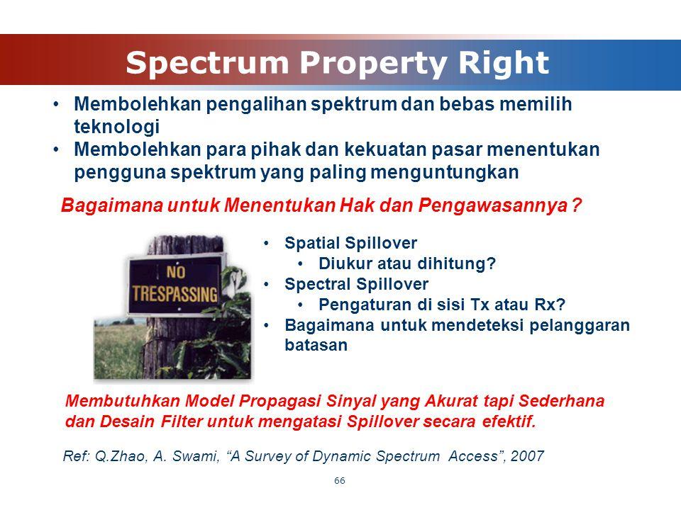 Spectrum Property Right 66 Bagaimana untuk Menentukan Hak dan Pengawasannya ? Spatial Spillover Diukur atau dihitung? Spectral Spillover Pengaturan di