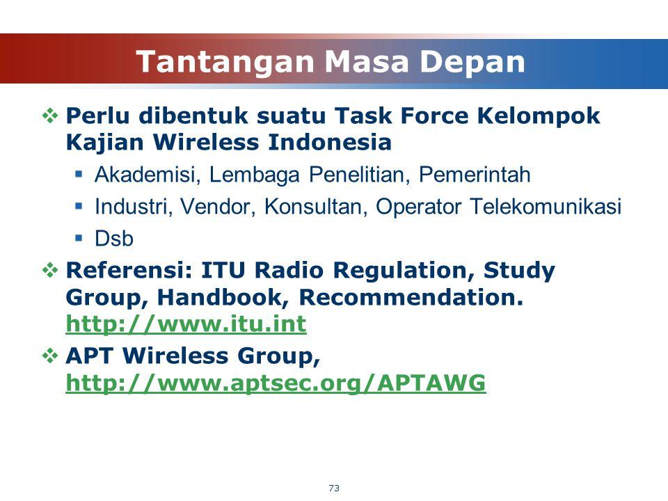 Tantangan Masa Depan  Perlu dibentuk suatu Task Force Kelompok Kajian Wireless Indonesia  Akademisi, Lembaga Penelitian, Pemerintah  Industri, Vend