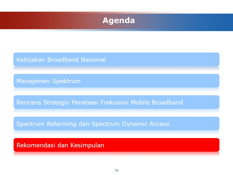 75 Agenda