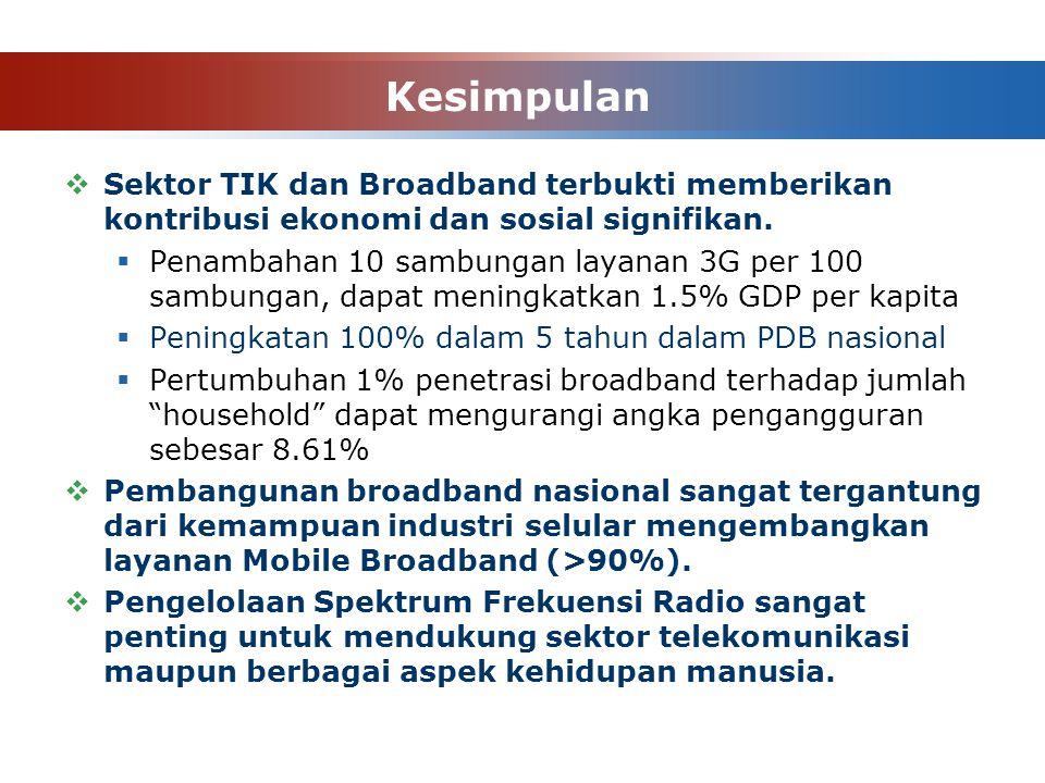 Kesimpulan  Sektor TIK dan Broadband terbukti memberikan kontribusi ekonomi dan sosial signifikan.  Penambahan 10 sambungan layanan 3G per 100 sambu
