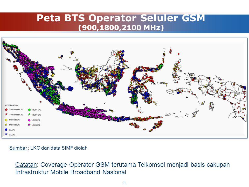 Peta BTS Operator Seluler GSM (900,1800,2100 MHz) Sumber : LKO dan data SIMF diolah Catatan: Coverage Operator GSM terutama Telkomsel menjadi basis ca