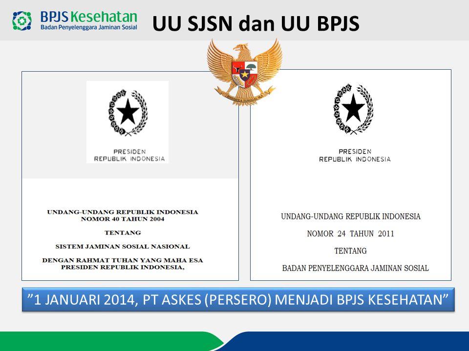 """1 JANUARI 2014, PT ASKES (PERSERO) MENJADI BPJS KESEHATAN"" UU SJSN dan UU BPJS"