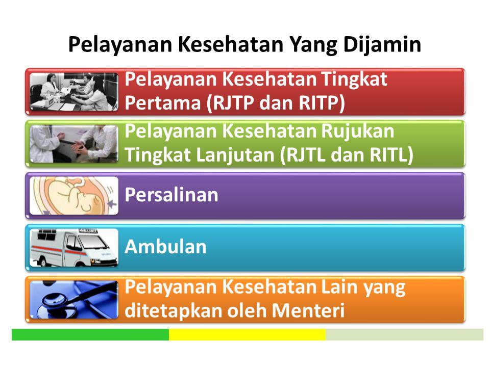 Pelayanan Kesehatan Yang Dijamin Pelayanan Kesehatan Tingkat Pertama (RJTP dan RITP) Pelayanan Kesehatan Rujukan Tingkat Lanjutan (RJTL dan RITL) Pers
