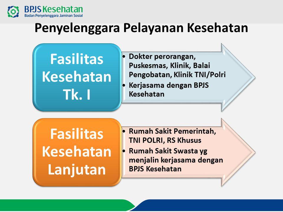 Penyelenggara Pelayanan Kesehatan Dokter perorangan, Puskesmas, Klinik, Balai Pengobatan, Klinik TNI/Polri Kerjasama dengan BPJS Kesehatan Fasilitas K