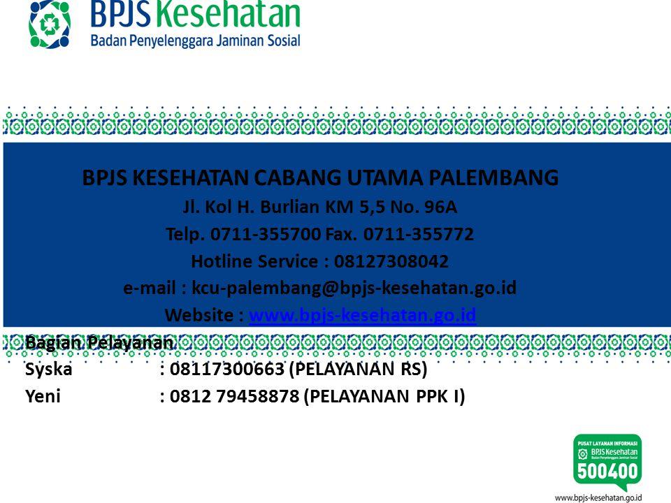 TERIMA KASIH BPJS KESEHATAN CABANG UTAMA PALEMBANG Jl. Kol H. Burlian KM 5,5 No. 96A Telp. 0711-355700 Fax. 0711-355772 Hotline Service : 08127308042
