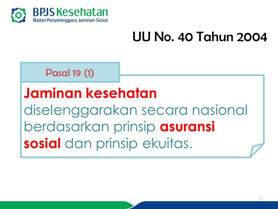 UU No. 40 Tahun 2004 Jaminan kesehatan diselenggarakan secara nasional berdasarkan prinsip asuransi sosial dan prinsip ekuitas. Pasal 19 (1) 7