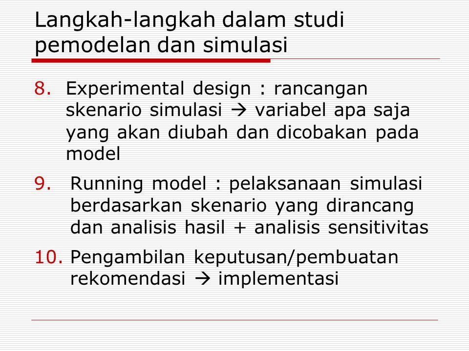 8.Experimental design : rancangan skenario simulasi  variabel apa saja yang akan diubah dan dicobakan pada model 9.Running model : pelaksanaan simulasi berdasarkan skenario yang dirancang dan analisis hasil + analisis sensitivitas 10.Pengambilan keputusan/pembuatan rekomendasi  implementasi Langkah-langkah dalam studi pemodelan dan simulasi