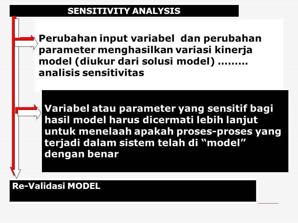 SENSITIVITY ANALYSIS Perubahan input variabel dan perubahan parameter menghasilkan variasi kinerja model (diukur dari solusi model) ……… analisis sensitivitas Re-Validasi MODEL Variabel atau parameter yang sensitif bagi hasil model harus dicermati lebih lanjut untuk menelaah apakah proses-proses yang terjadi dalam sistem telah di model dengan benar